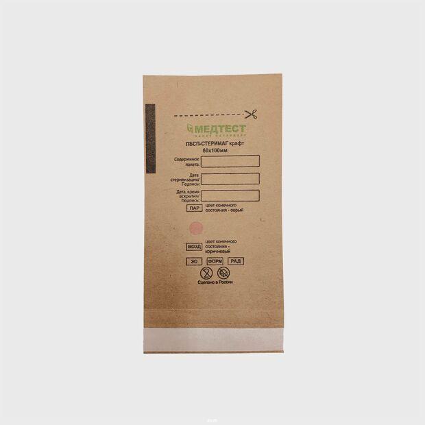 60х100мм Крафт пакеты для стерилизации Медтест коричневые 100 шт